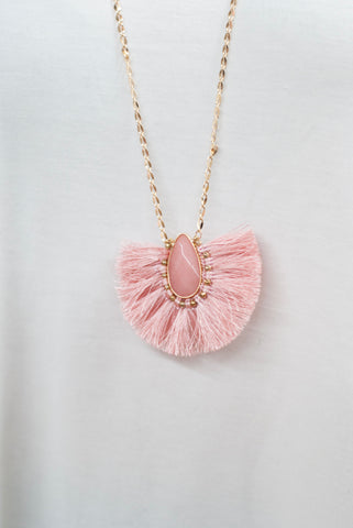 Pink Fan Stone Necklace