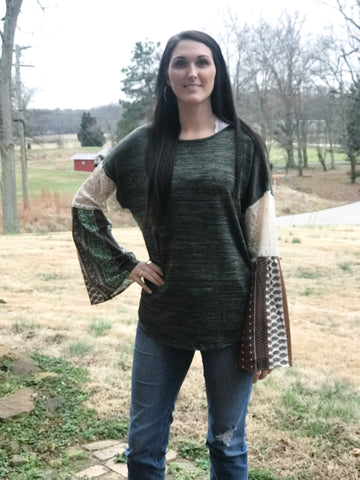 Olive top with printed sleeves - Faye Baby Boutique