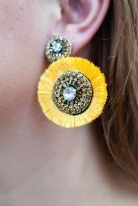 Mustard Fan Earrings
