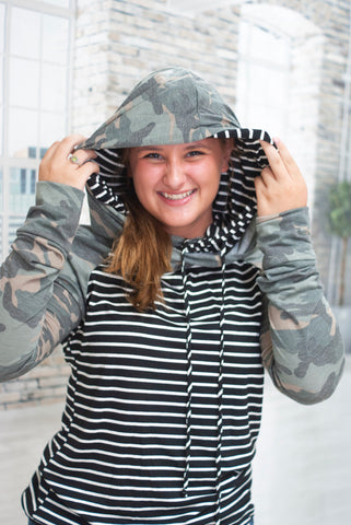 Camo and Stripes Hoodie