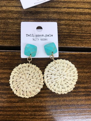 Turquoise Rattan Disc Earrings