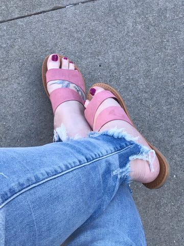 Blush Two Strapped Sandal - Faye Baby Designs