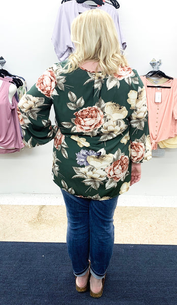 Dark Green Floral Top Curvy - Faye Baby Boutique