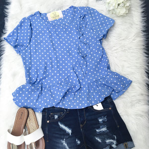 Small Blue Polka-Dot Surplice Flair Hem Top