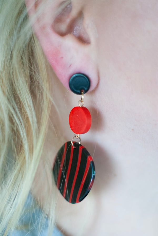 Red and Black Striped Circular Dangle Earrings