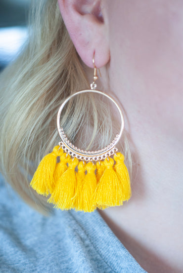 Mustard Tassel Hoop Earrings