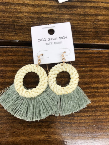 Green Rattan Tassel Earrings