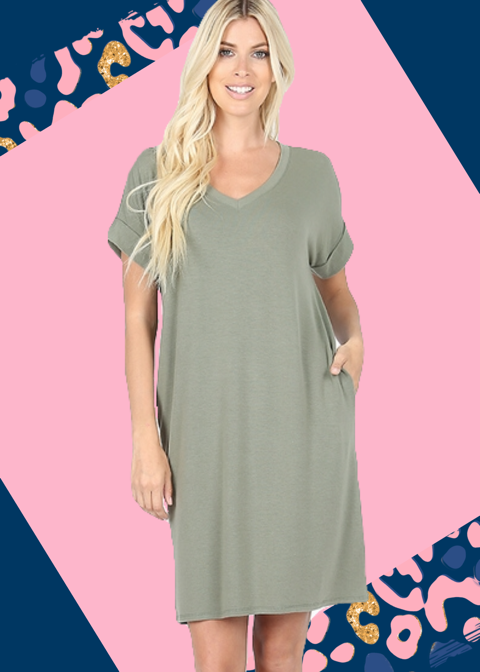 Curvy Light Olive Tee Shirt Dress
