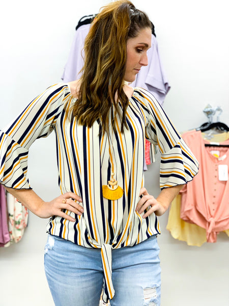 Striped Bell Sleeve Top - Faye Baby Boutique
