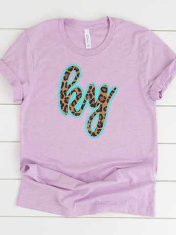 Turquoise and Leopard State Graphic Tee