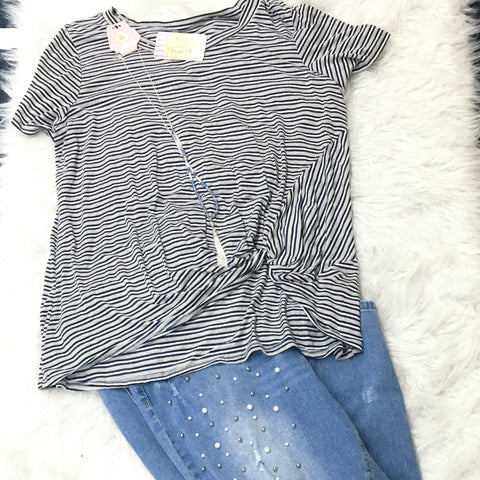 1XL Twist Hem Striped Top
