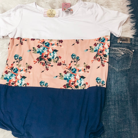2XL Floral Color Block Tee