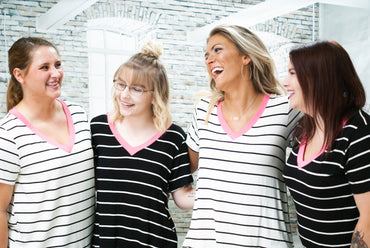 Pink V-Neck Striped Top - Black