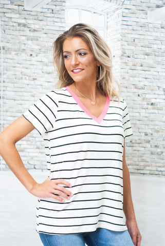Pink V-Neck Striped Top - White