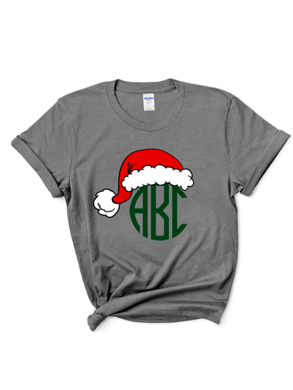 Black Friday Santa Hat Monogram Graphic Tee