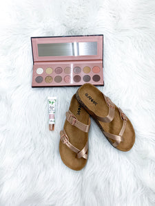 Rose Gold Bork Sandals - Faye Baby Boutique