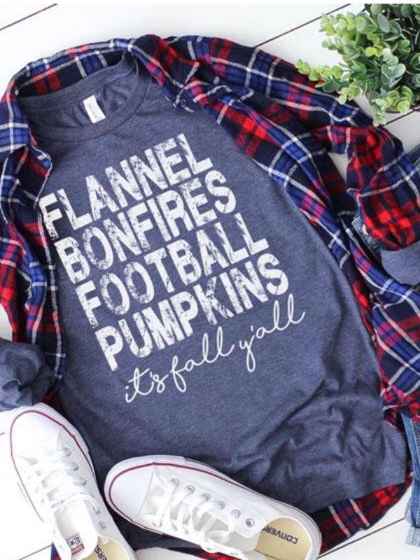 Flannels, Bonfires, Football, Pumpkins Graphic Tee
