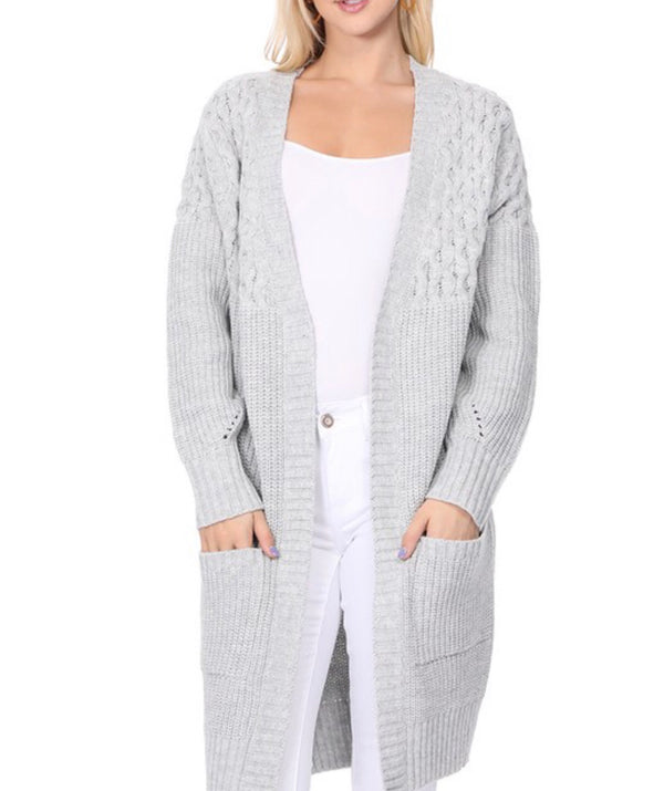 Gray Woven Cardigan With Pockets