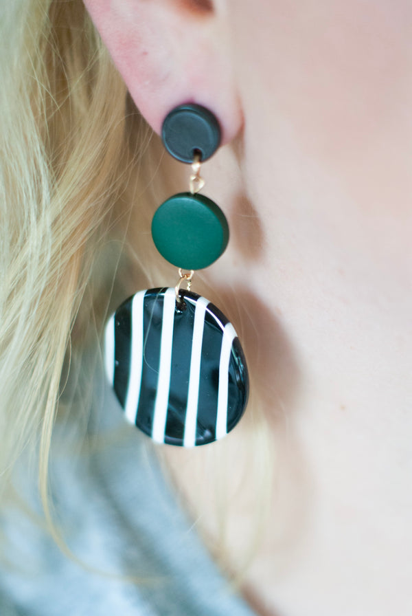 Green and Black Striped Circular Dangle Earrings