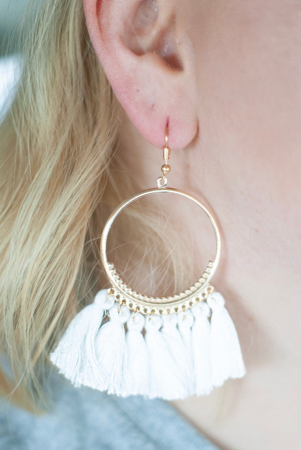 White Tassel Hoop Earrings