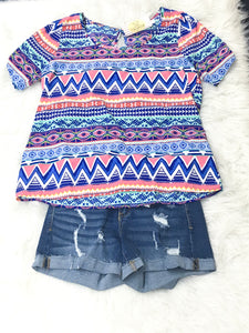 Large Tribal Chevron Top