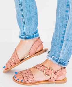 Dusty Blush Dye Cut Sandals