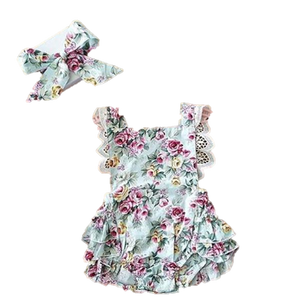 Floral Ruffle Romper and Headband Set