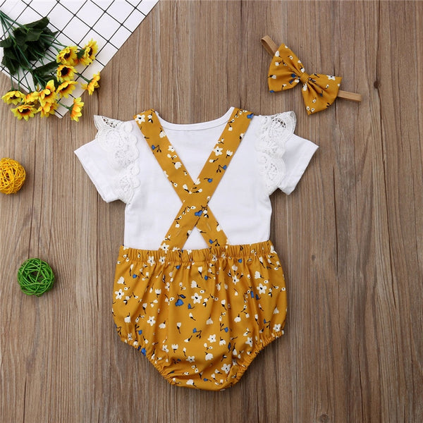 Honey Ruffle Romper Overall Set
