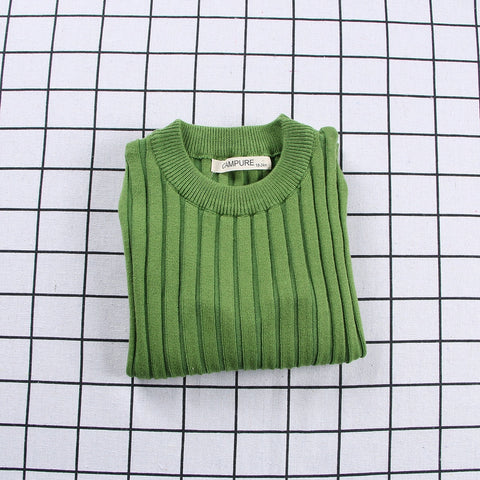 Ribbed Knitted Sweater Green