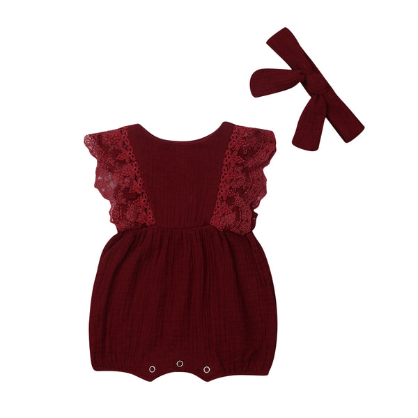 Piper Romper & Headband Pair Red