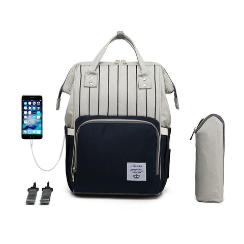 LeQueen Striped Backpack Nappy Bag Blue USB