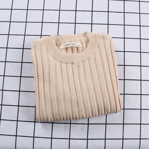 Ribbed Knitted Sweater Khaki