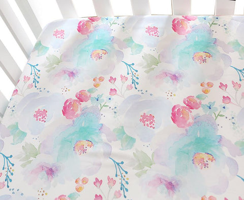 Helena Fitted Cot Sheet Watercolour Floral