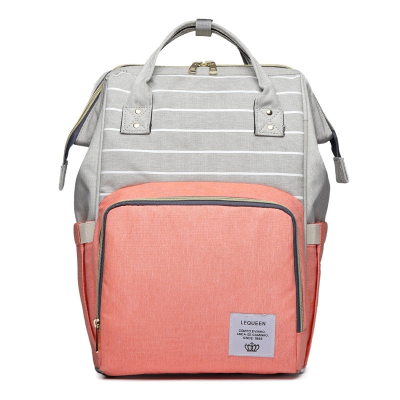 LeQueen Striped Backpack Nappy Bag Peach