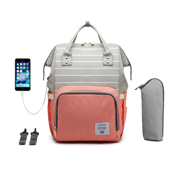 LeQueen Striped Backpack Nappy Bag Peach USB