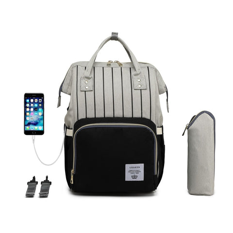 LeQueen Striped Backpack Nappy Bag Black USB