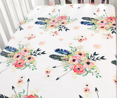Helena Fitted Cot Sheet Floral Arrow
