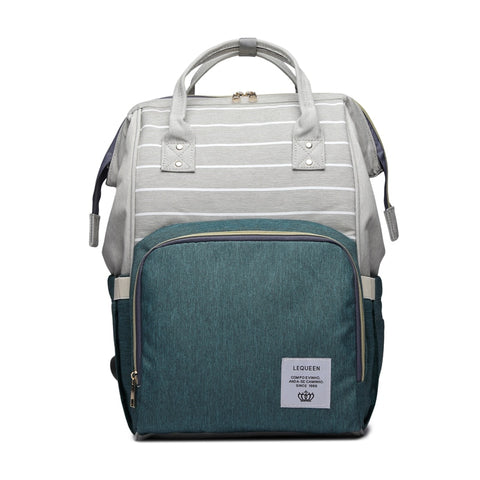 LeQueen Striped Backpack Nappy Bag Green