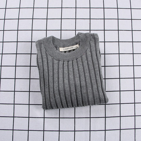 Ribbed Knitted Sweater Grey