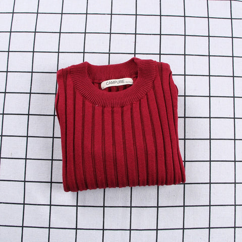 Ribbed Knitted Sweater Red