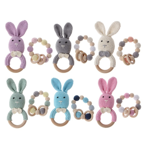Wooden/Crochet Bunny Teether Sets