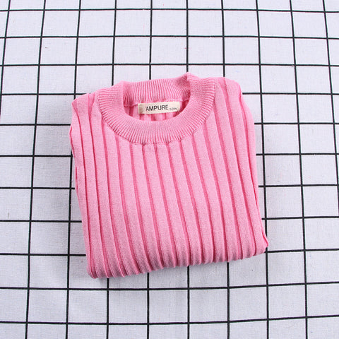 Ribbed Knitted Sweater Pink