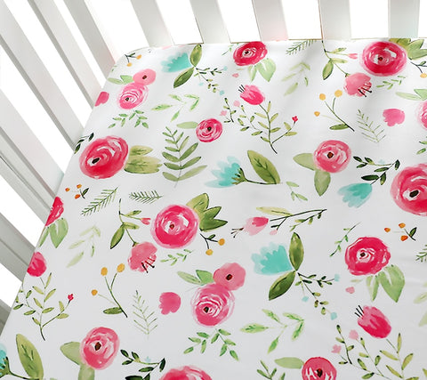Helena Fitted Cot Sheet Pastel Floral