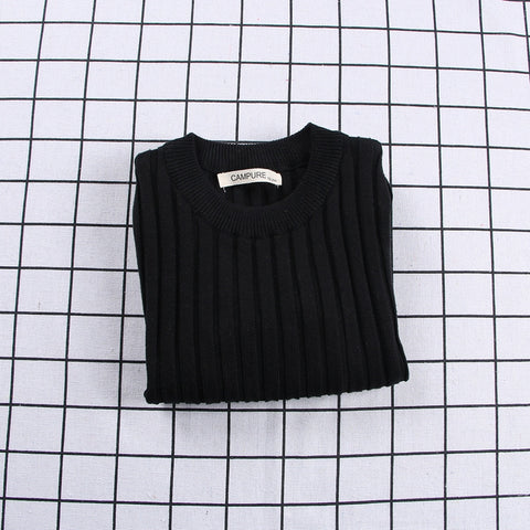 Ribbed Knitted Sweater Black