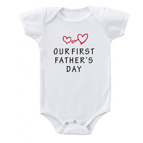 Our First Fathers Day Romper White