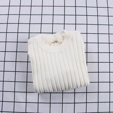 Ribbed Knitted Sweater White