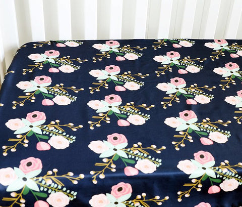 Helena Fitted Cot Sheet Navy Floral Cluster