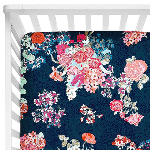 Helena Fitted Cot Sheet Navy Floral