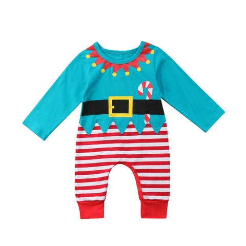 Blue Elf Christmas Romper