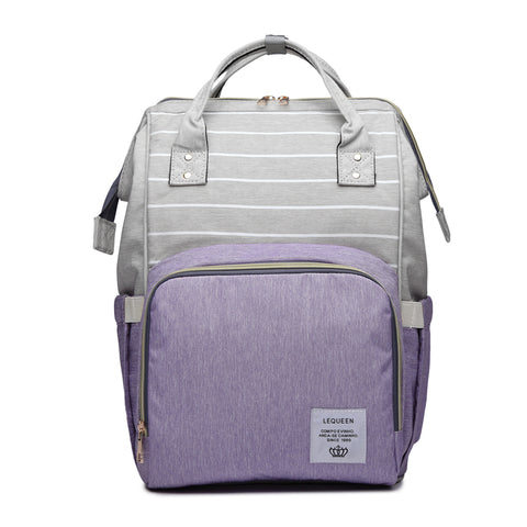 LeQueen Striped Backpack Nappy Bag Purple